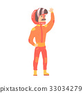Car racing driver man in an orange uniform 33034279