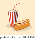 Hot dog with soda in a paper cup 33034450