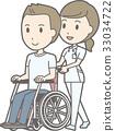 백의를 입은 간호사가 젊은 남자가 앉아있는 휠체어를 밀고있는 일러스트 33034722