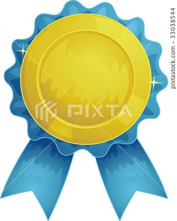 Award Ribbon Blue Gold Rosette 33038544