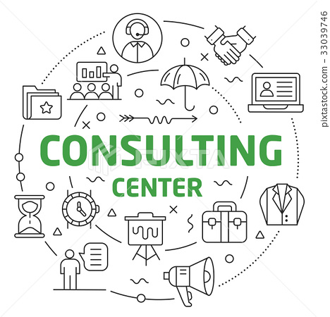Line Flat Circle illustration consulting center 33039746