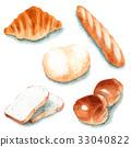 面包 水彩画 奶油卷 33040822