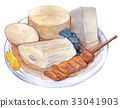 Watercolor illustration food oden 33041903