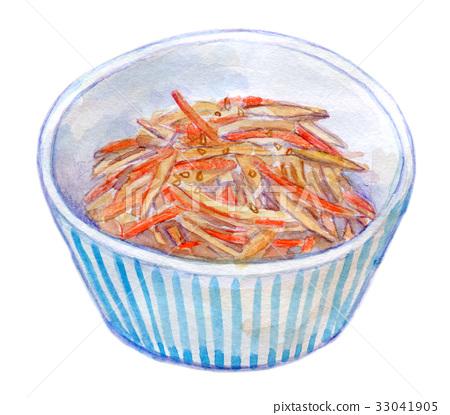 水彩例證食物kinpira 33041905