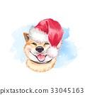 Cute dog sketch. Santa Claus hat 33045163