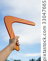 Boomerang in front of a blue sky 33047665