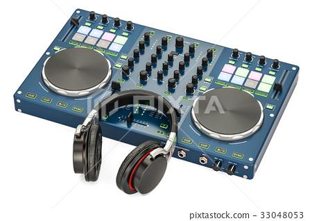 DJ Console with headphones, 3D rendering 33048053