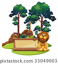 Sign template with wild lion in forest 33049003