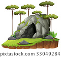 Scene wtih cave and trees 33049284
