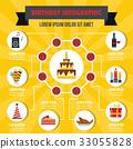 Happy birthday infographic concept, flat style 33055828