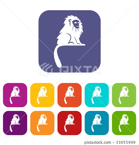 Hairy monkey icons set flat 33055999