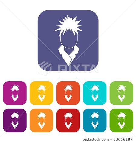 Singer icons set flat 33056197