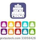 Big cake icons set flat 33056426