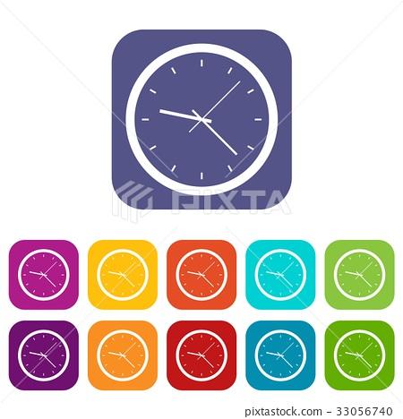 Wall clock icons set flat 33056740