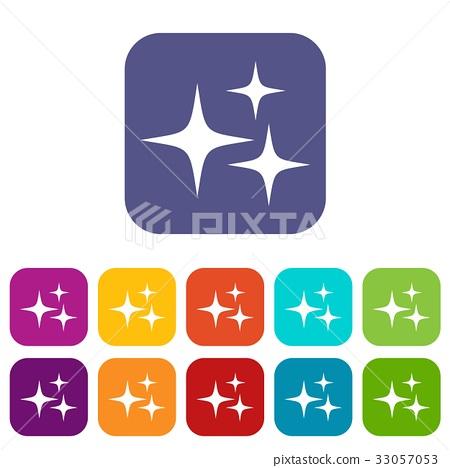 Stars icons set flat 33057053
