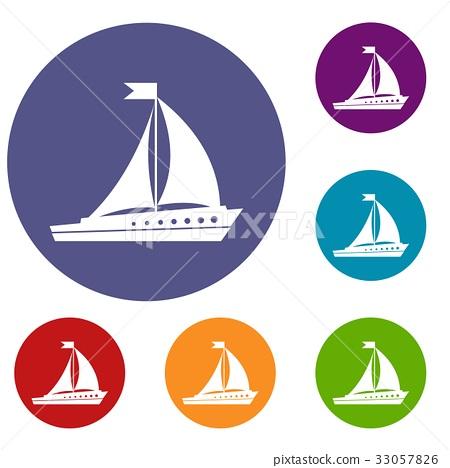 Sailing ship icons set 33057826