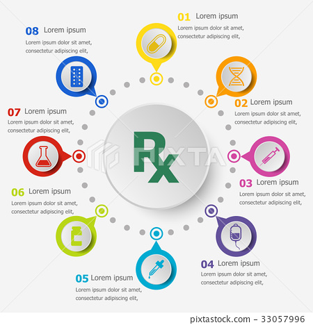 Infographic template with pharmacy icons 33057996