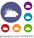 Sun and cloud icons set 33058182