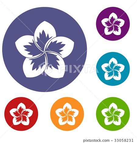 Frangipani flower icons set 33058231