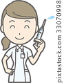 백의를 입은 간호사가 주사기를 가지고 일러스트 33070998