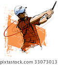 Golf player with cap and sunglasses 33073013