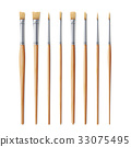 Realistic Artist Paintbrushes Set 33075495
