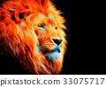 抽象的なライオンの雄の顔 33075717