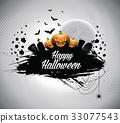 Vector illustration on a Halloween theme. 33077543