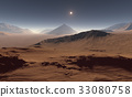 Sunset on Mars. Martian landscape. 3D illustration 33080758
