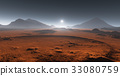 Sunset on Mars. Martian landscape. 3D illustration 33080759