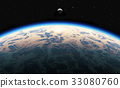 Earth sunrise with clouds, moon and stars 33080760