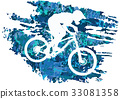 Silhouette of a cyclist riding a mountain bike 33081358