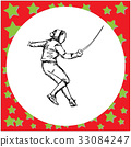 one fencing player with sword fighting - vector 33084247