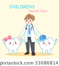 cartoon dentist with tooth 33086814