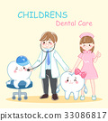 cartoon dentist with tooth 33086817