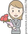 一個少婦的例證拿著花束的衣服的 33088178
