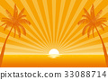 Silhouette palm tree on beach with sunshine ray 33088714