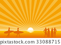Silhouette surfer on beach with sun shine ray 33088715