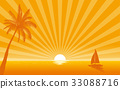 Silhouette palm tree and sailboat with sunshine 33088716