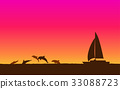 Silhouette jumping dolphin and sailboat at sunset 33088723