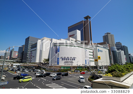 Crossing in front of Kobe Sannomiya Station - Stock Photo