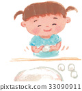 Girl who rounds the rice cake 33090911