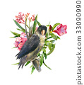 watercolor painting with bird and flowers, whithe 33090990