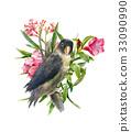 bird, flower, color 33090990