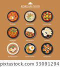 Set of korean food flat design. Asia street food 33091294