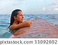 Surfer girl on surfboard have a fun before surfing 33092602