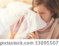 Sick girl covering her nose with paper serviette 33095507