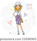 Vector cute fashionable girl 33096905