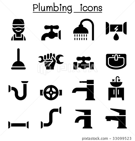 Plumbing icons set 33099523