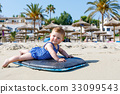 Portrait of cute little baby girl in swim suit on 33099543